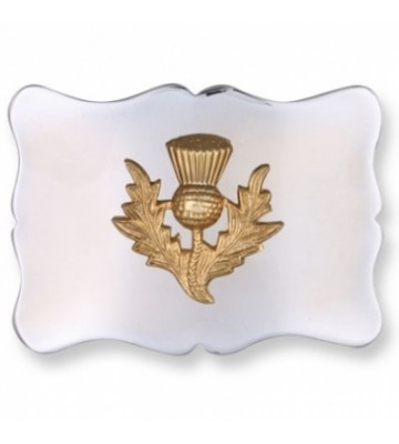 Gold Thistle on Chrome Background Buckle