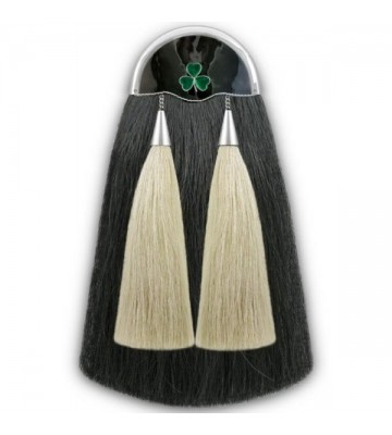 Black w/ White Shamrock Horse Hair Sporran