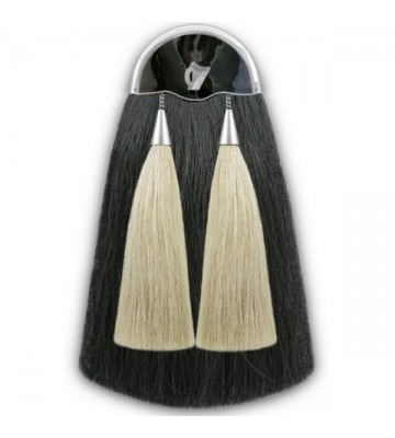 Black w/ White Celtic Harp Horse Hair Sporran